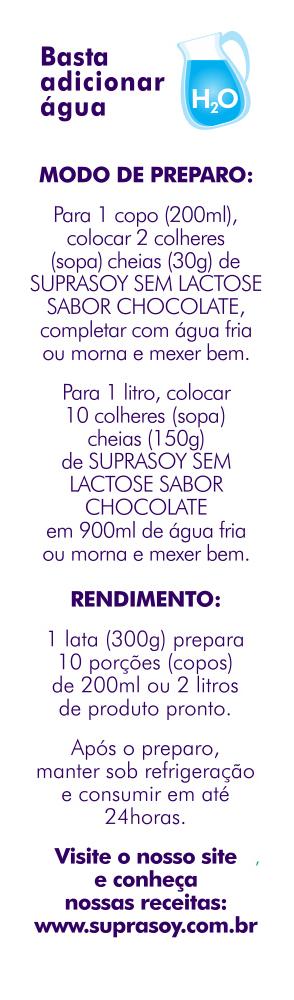 Alimento em P� SupraSoy Sem Lactose Sabor Chocolate 300g - caixa com 12 unidades de 300g