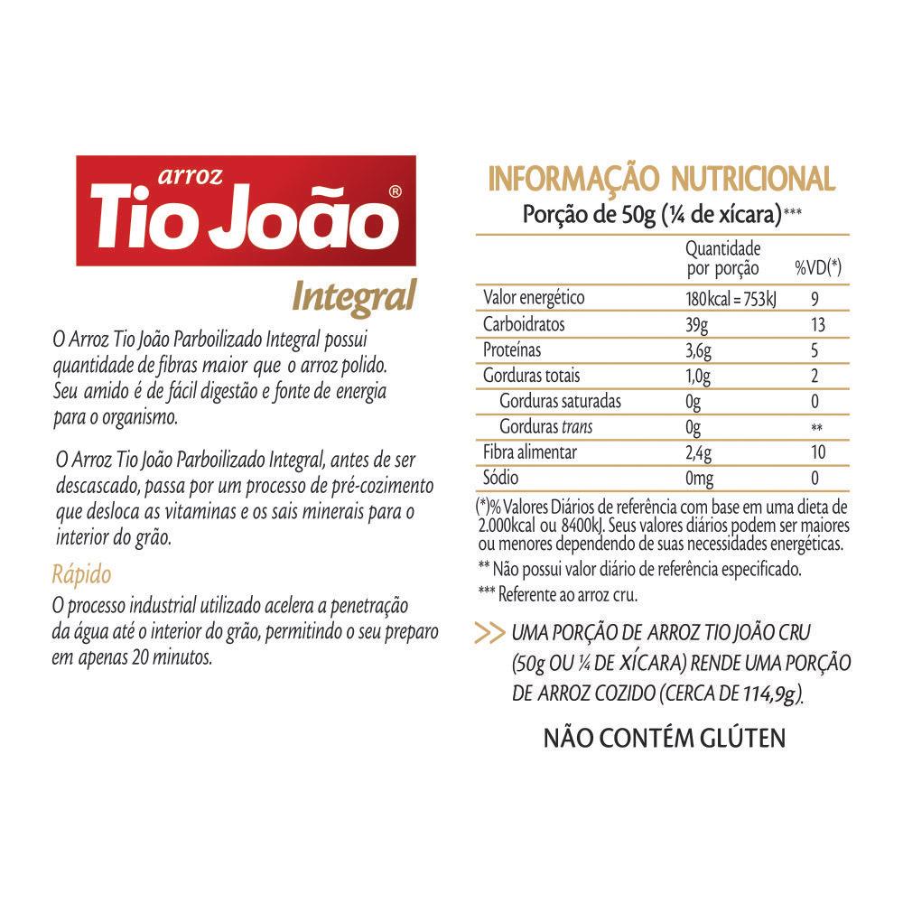 Arroz Tio Jo�o Integral 500g - fardo com 20 unidades de 500g