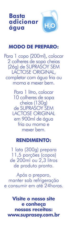 Alimento em P� SupraSoy Sem Lactose Original 300g - caixa com 12 unidades de 300g